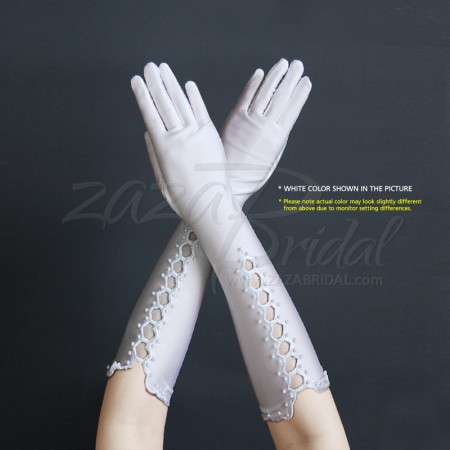 Matte Finish Satin Gloves with Vent & Pearl Accents