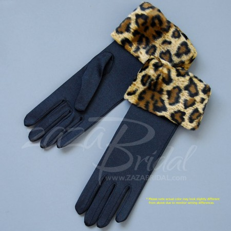 WINTER GLOVES 4-WAY STRETCH MATTE FINISH SATIN WITH LEOPARD FAUX FUR CUFF