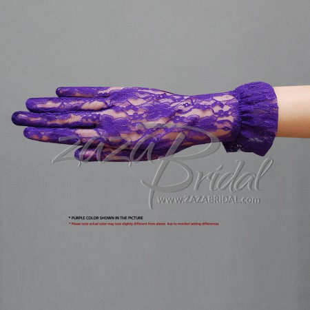 Flower Pattern Women's Lace Gloves With Ruffle Wrist Length