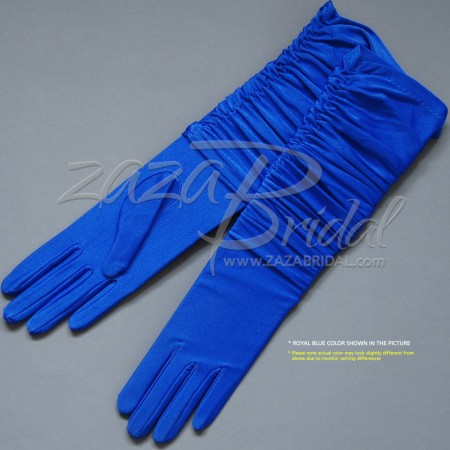 Gathered 4-Way Stretch Matte Finish Satin(14BL) Gloves - Adjust the length
