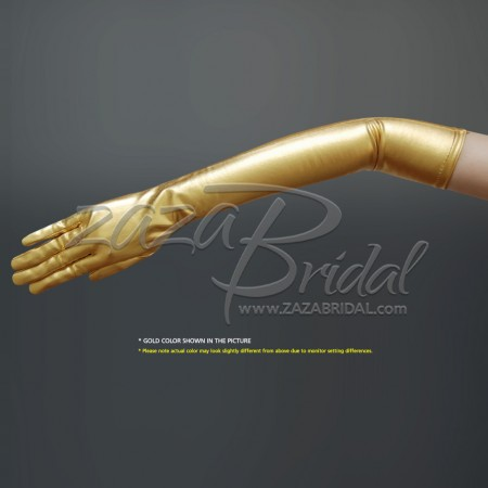 Shiny Stretch Metallic Gloves Above-the-Elbow Length (12BL) - Gold/Silver