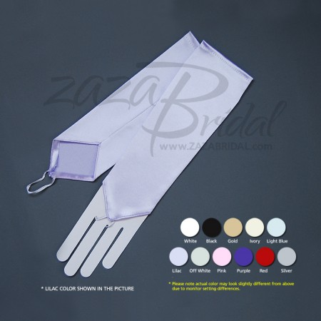 Stretch Satin Fingerless Gloves Below-The-Elbow Length