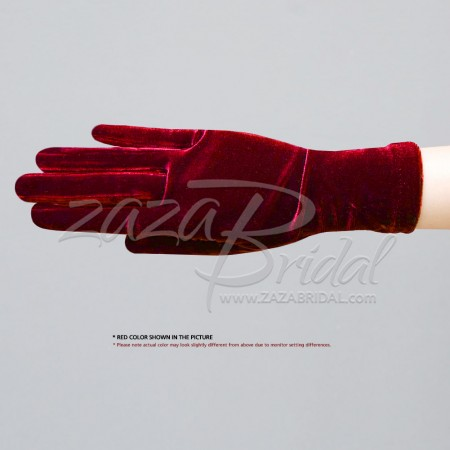 Stretch Velvet Gloves Wrist Length